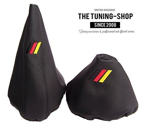 (The Tuning-Shop Ltd For Bmw E36 E46 1991-2005 Manual Black Leather Shift & E Brake Boot With M3 Sign German Flag Colour )