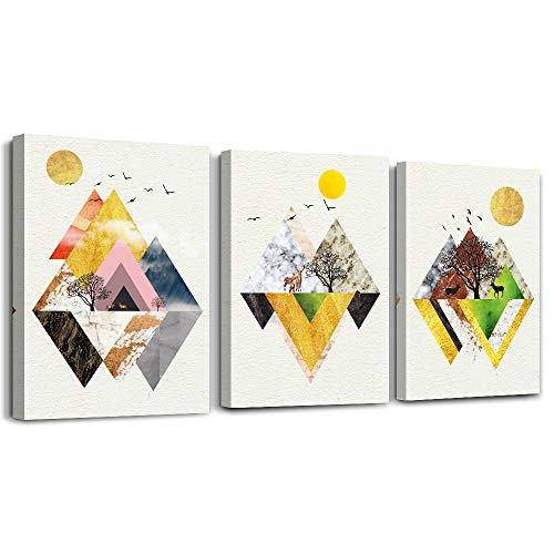 golden Abstract Mountain Canvas Prints,Wall Art Paintings Abstract Geometry Wall Artworks Pictures for Living Room Bedroom Decoration,bathroom Wall decor posters, 12x16 inch/piece 3 Panels Home art
