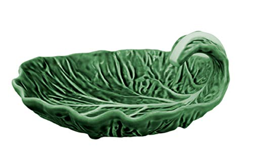 Majolica Leaf Plate - Bordallo Pinheiro Cabbage Leaf with Curvature 18,5 Natural, Green