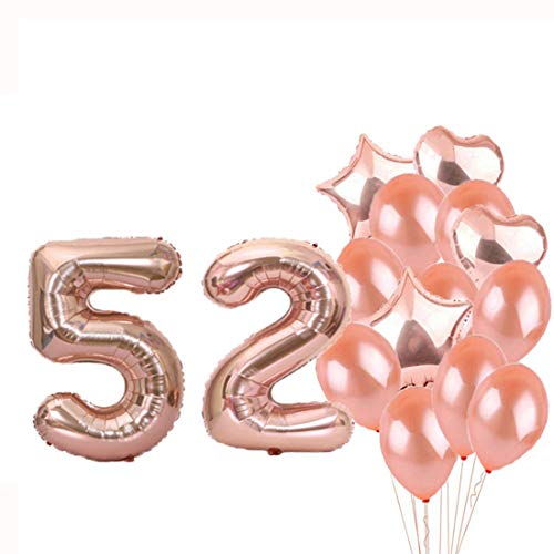 52 Foil - Sweet 52th Birthday Decorations Party Supplies,Rose Gold Number 52 Balloons,52th Foil Mylar Balloons Latex Balloon Decoration,Great 52th Birthday Gifts for Girls,Women,Men,Photo Props