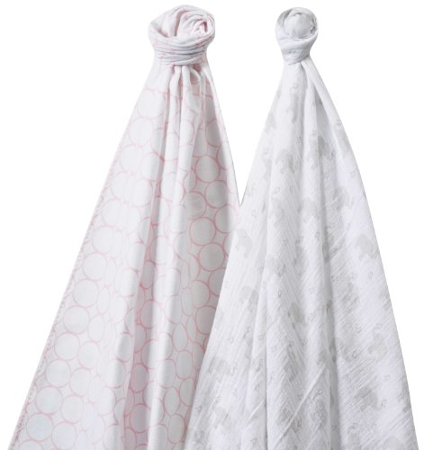 SwaddleDesigns SwaddleDuo, Set of 2 Swaddling Blankets, Cotton Muslin + Premium Cotton Flannel, Mod Elephant and Pastel Pink Chickies Duo