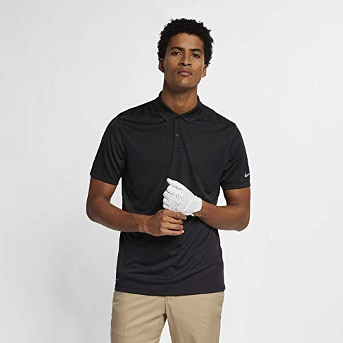 (Nike Men's Dry Victory Solid Polo Golf Shirt, Black/Cool Grey, Large)
