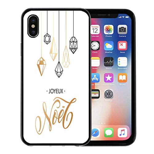 (Emvency Phone Case for Apple iPhone Xs Case/iPhone X Case,Merry Christmas French Joyeux Noel Ornaments Gilding Geometric Gem Soft Rubber Border Decorative, Black )