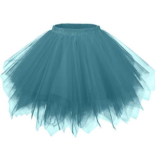 Girstunm Women's 1950s Vintage Petticoats Bubble Tutu Dance Half Slip Skirt Teal-XXL/XXXL]()