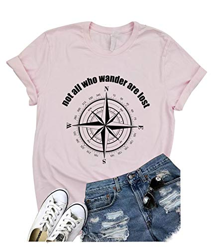 Not All Who Wander are Lost Women Travel T Shirt Compass Graphic Baseball Tee Short Sleeve Cotton Casual Tops (XL, Pink)