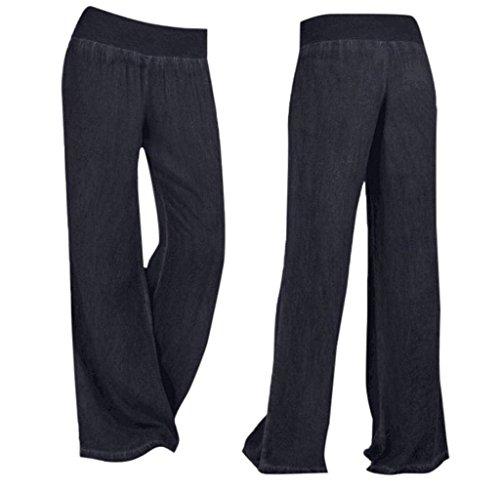 Larghi Palazzo Eleganti Semplice Donna Haidean Lunga Nero Pantaloni Glamorous Vita Libero Jeans Elastica Autunno Baggy Tempo wTBwqzxXt