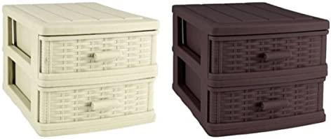 Caja con cajón efecto Rattan caja almacenaje Box cajones Armario ...