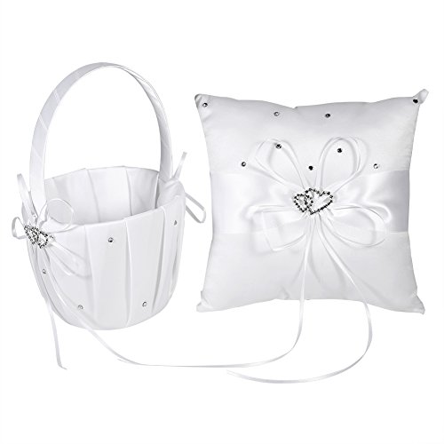 Bridal Wedding Pocket and Flower Basket Ring Pillow Cushion Bearer with Bowknot Double Hearts for Wedding Party Ceremony Decoration(white #1)