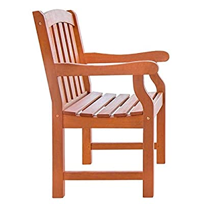 VIFAH V211 Outdoor Wood Arm Chair, Natural Wood Finish, 25 by 24 by 36-Inch - Pre-treated, expertly kiln-dried, extremely durable FSC Eucalyptus Mold, mildew, fungi, termites, rot and decay resistant Perfect for decks and patios - patio-furniture, patio-chairs, patio - 41ajpwOcgLL. SS400  -
