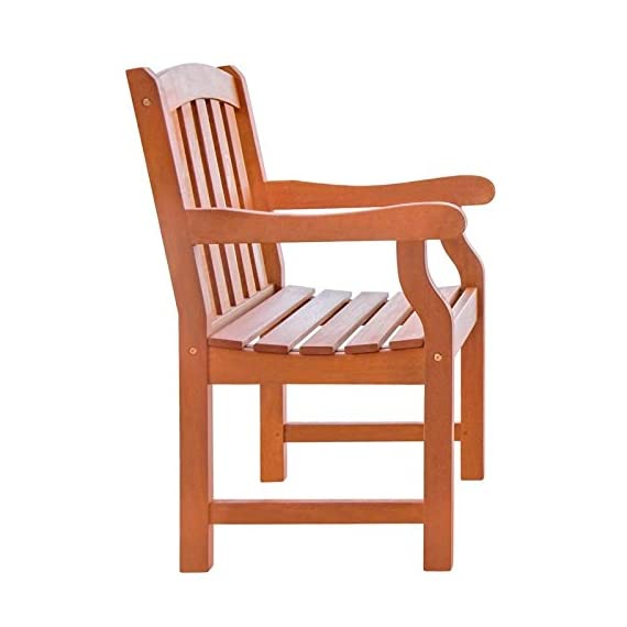 VIFAH V211 Outdoor Wood Arm Chair, Natural Wood Finish, 25 by 24 by 36-Inch - Pre-treated, expertly kiln-dried, extremely durable FSC Eucalyptus Mold, mildew, fungi, termites, rot and decay resistant Perfect for decks and patios - patio-furniture, patio-chairs, patio - 41ajpwOcgLL. SS570  -