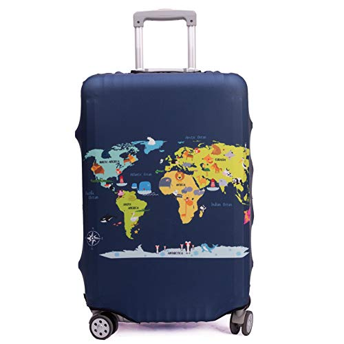 "Madfifennina Washable Spandex Travel Luggage Protector Baggage Suitcase Cover Fit 23-32 Inch (L(26""-28"" luggage), Map)"
