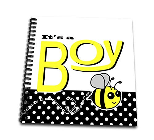 - 3dRose Boy-Cute Yellow Bumble Bee Black and White Polka Dots-Mini Notepad, 4 by 4-inch (db_57105_3)