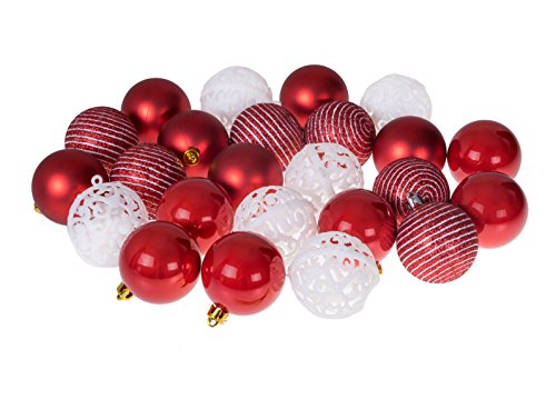 Christmas Ornament Ball Set by Clever Creations | Red and White | 24 Pack | Festive Holiday Décor | Classic Design | Glitter, Gloss and Swirled Texture | Shatter Resistant | Hangers Included | 55mm Clever Christmas Ornaments