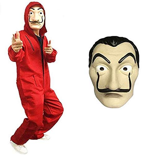 Poppyflyer The Paper House Cosplay Multifunction Mask La Casa De Papel Overalls Halloween Mask Costume Hoodie Jumpsuit with Mask ()