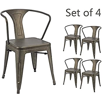 Devoko Gun Metal Chairs Indoor Outdoor Tolix Style Kitchen Dining Chairs  Stackable Arm Chairs Set