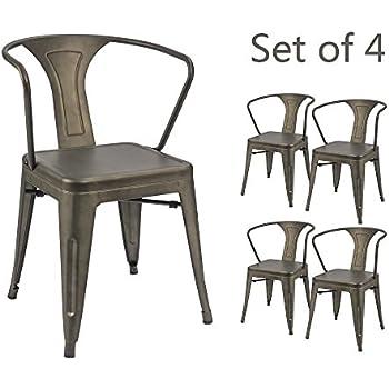 Devoko Gun Metal Chair Indoor Outdoor Tolix Style Kitchen Dining Chairs  Stackable Arm Chairs Set