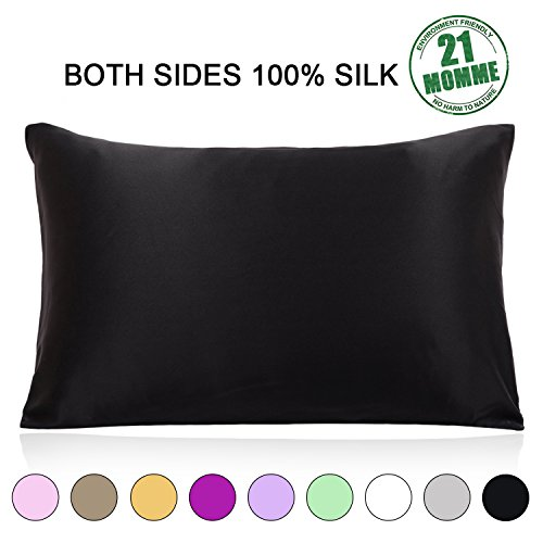 Ravmix-100-Pure-Natural-Mulberry-Silk-Pillowcase-Standard-Size-21-Momme-600-Thread-Count-Hypoallergenic-Both-Sides-for-Hair-Soft-Breathable-with-Hidden-Zipper-2026-inches-Black