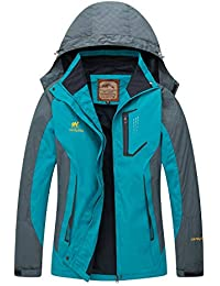 Rain Jacket Women Hooded Lightweight Softshell Hiking...