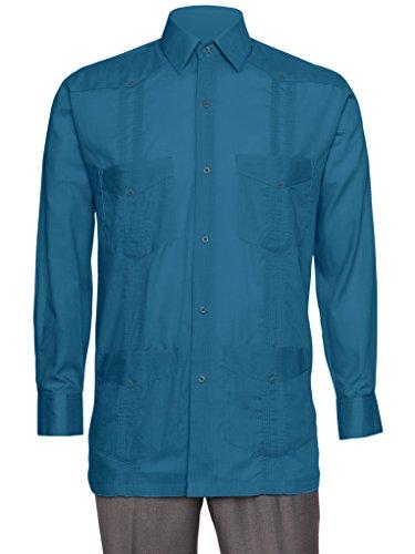 Gentlemens Collection Mens Linen Look Guayabera Shirt - Long Sleeve Cuban Shirt