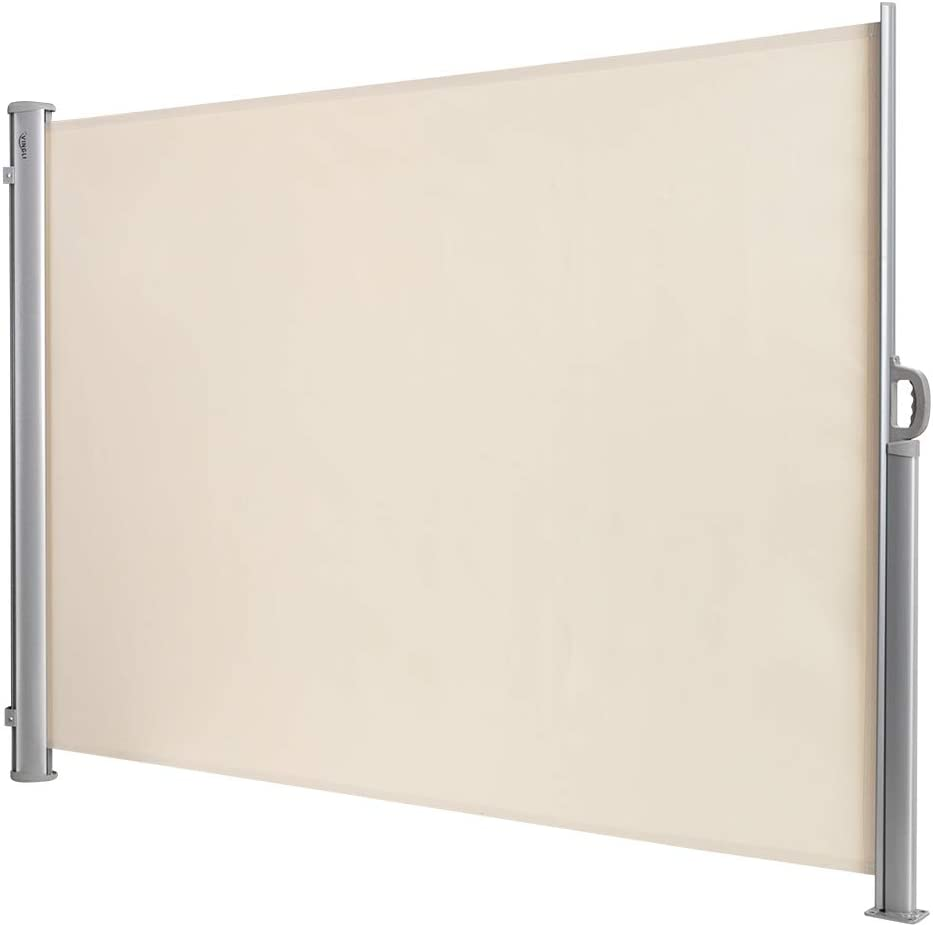 """VINGLI Beige Patio Retractable Side Screen Awning, Patio Garden Privacy Divider, (118"""" L x 71"""" W)"""