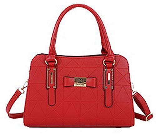 FBUBC215675 tracolla AllhqFashion Rosso da donna a casual tracolla Pu a Borse Borse Shopping zqPwgpH