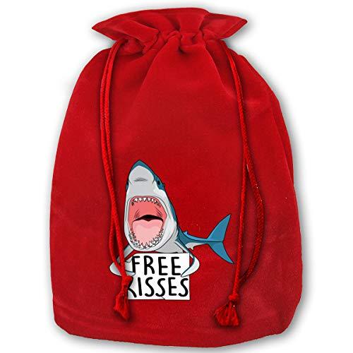 HYEECR Free Kisses Christmas Bags Santa Present Sack Drawstring Bag Holiday Wrapping