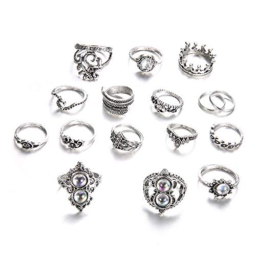 (PrettyW 15 Pcs/Set Ring Set Sterling Silver Diamond Rings Diamond Crown Ring for Women Girls Gifts Engagement Jewelry Retro Vintage Boho Ring)