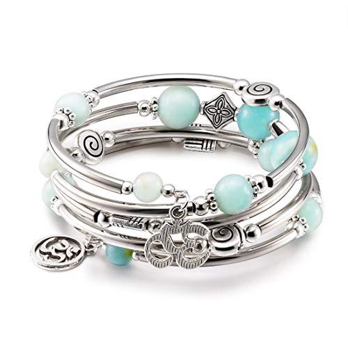- CAT EYE JEWELS Wrap Bangle Bracelet Natural Amazonite Beads Gemstone OM Charm Boho Jewelry B015
