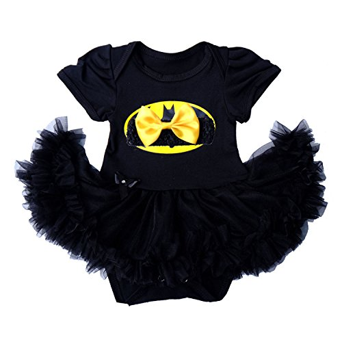 Laudmu Infant Newborn Baby Girls Clothes Dress Outfit Set Superhero Costume Party Cosplay Romper Skirt (XL)