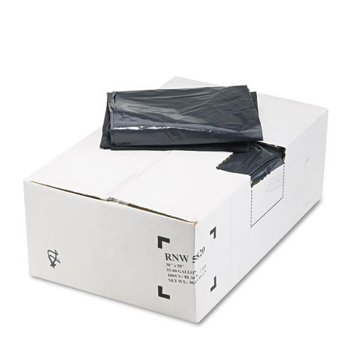 55 Gallon Receptacle (Earthsense Commercial RNW5820 Recycled Can Liners, 55-60 Gallon, 2 Mil, 38w x 58h, Black, Roll of 10 Bags (Case of 10 Rolls))