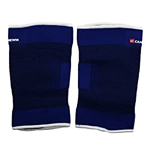 uxcell Elastic Fabric Adult Running Stretchy Sleeve Leg Thigh Support Brace Pair Blue