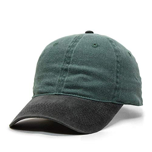 The Vintage Year Flex Stretchable Washed Pigment Dyed Cotton Twill Low Profile Caps (L/XL, Black/Dk.Green)