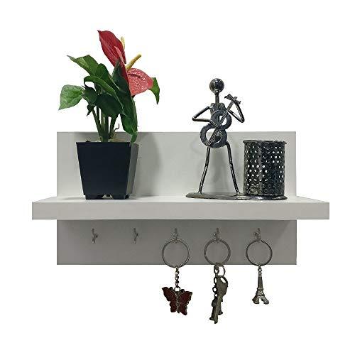 A10SHOP Omega 6 WoodenA10SHOP Omega 6 Wooden Key Holder with Wall Decor Shelf, 5 Key Hooks - Frosty White