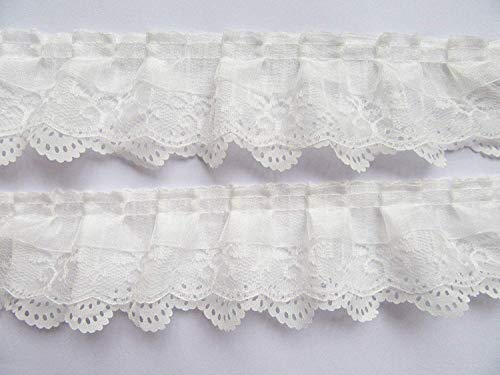 XiXiboutique 15 Yards 3-Layer Pleated Organza Lace Ribbon Gathered Mesh Chiffon Fabric Handmade DIY Lace Trim Sewing Craft,White