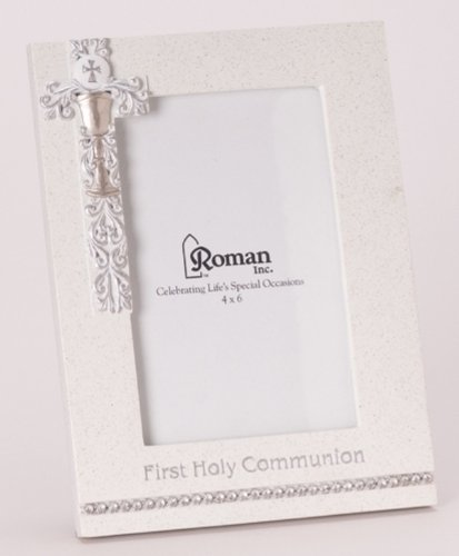 "8"" First Holy Communion White Frame with Silver Scroll Chalice Design - Holds 4x6 Photo"