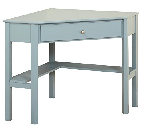 This classically styled desk utilizes a small space for a big impact, with stylish under-desk shelving and a drawer to hide clutter. Simple Living Wood Corner Computer Desk (Antique Blue) by Simple Living Products