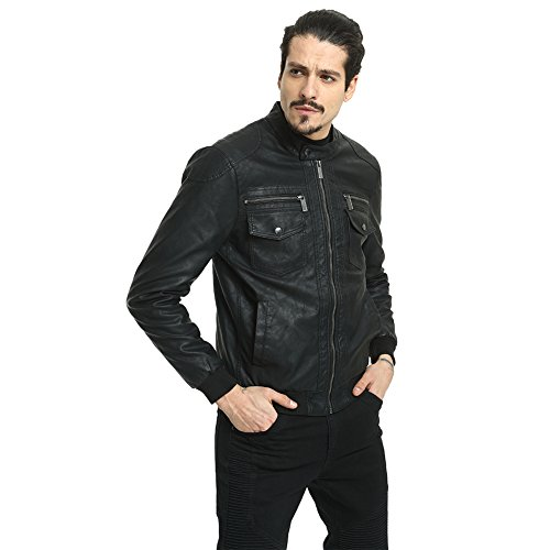 PUREMSX Men's Leather Jacket, Vintage Faux Leather Short Stand Collar Zip Up Quilted Outwear Coat