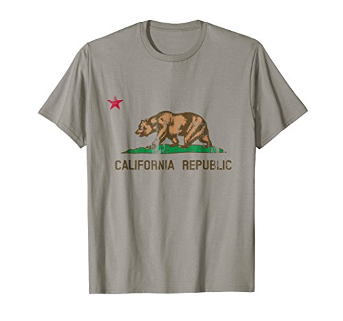 Mens California State Flag Vintage Distressed T Shirt 2XL Slate