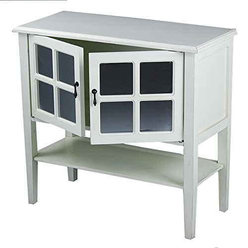 Heather Ann Creations 2 Door Console Cabinet With 4 Pane Mirror Insert Antique White