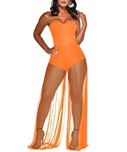 Womens Summer Beach Swimsuits - Sleeveless Tube Teddy See Through Wide Leg Pant Party Jumpsuits Beach Cover Up Orange S