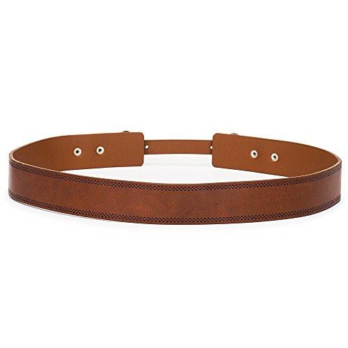 Tanpie Western Leather Belt for Women Boho Waist Belt with Designer Metal Double Buckle Yellow Brown L by Tanpie (Image #1)
