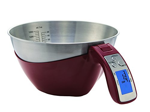 Saga measuring Cup Scale 11lbs/5KG x 1g/0.1 oz Volume and Weight scale (Red with stainless bowl)