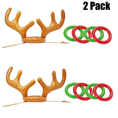 Christmas Inflatable Reindeer Antler Hat Ring Xmas Holiday Party Favors Toss Game Dress Up Toys for Kids Family]()