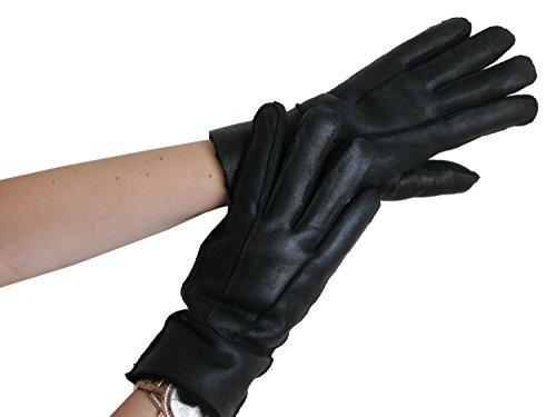 FursNewYork Women's Black Napa Leather Genuine Shearling Sheepskin Gloves Medium