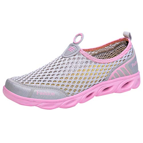 Cealu Womens Quick-Dry Hollow-Out Sneakers, Outdoor Breathable Lightweight Slip-On Athletic Jogger Running Walking Shoes (Pink, US:7)