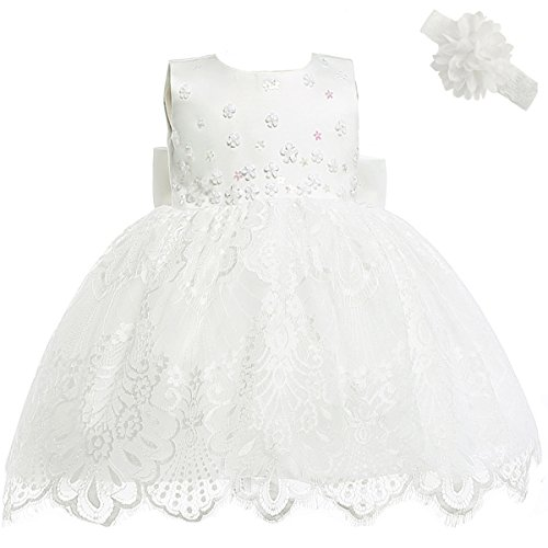 Moon Kitty Baby Girl Newborn 3D Flower Party Floral Dresses Pagent Lace Dress Gown for Baby Girls Ivory White 6M/6-10Month