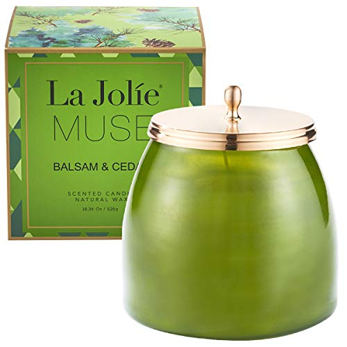 LA JOLIE MUSE Balsam Cedar Large Scented Candle - 18OZ Glass Jar Pine Candle, Natural Soy Wax