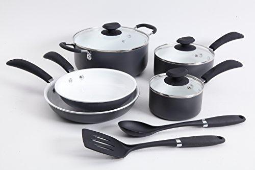 Hummington 10 Piece Aluminum Cookware Set, Matte Gray