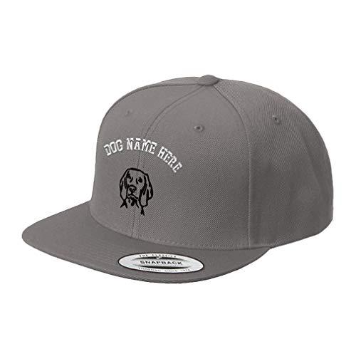 Weimaraner Baseball Hat - Custom Snapback Baseball Hat Weimaraner Face Embroidery Dog Name Acrylic Cap Snaps - Dark Grey, Personalized Text Here