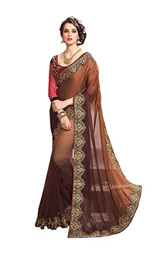 Appealing Saree - Sangrahan Appealing Plain Pallu Saree in Brown Color 71463
